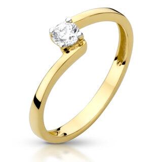 Złoty pierścionek z cyrkonią pr.333 na zaręczyny - P01075C-Y333 - Marandgold