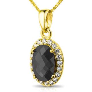 Złota zawieszka wisiorek z czarną cyrkonią pr.333 - W716O-Y333 - Marandgold