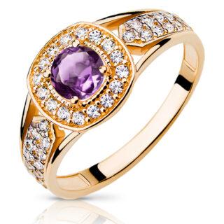 pierścionek z ametystem i brylantami