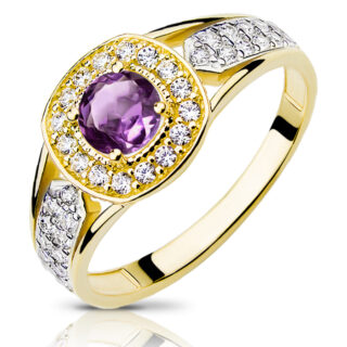 złoty pierścionek z ametystem sygnet damsk